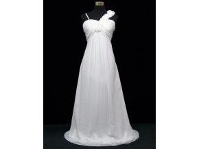Bílé dlouhé svatební šaty pro těhotné i vysoké postavy pro plnoštíhlé