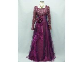 Fialové dlouhé společenské šaty pro plnoštíhlé s flitry a douhým rukávem