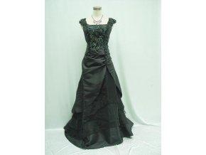 Černé dlouhé společenské šaty s květinovými ramínky zdobené pro plnoštíhlé