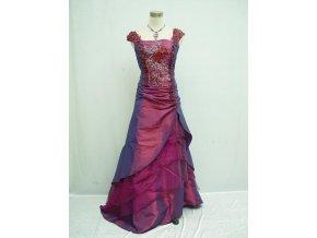 Fialové růžové společenské šaty na ples na svatbu s vyšívaným korzetem a širokými ramínky