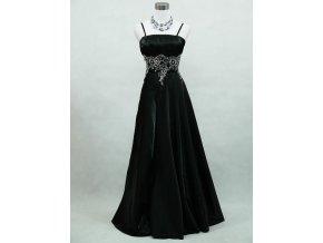 Černé dlouhé společenské šaty pro plnoštíhlé se stříbrnou krajkou