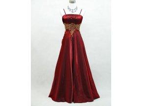 Červené dlouhé společenské svatební šaty na ples se zlatou krajkou