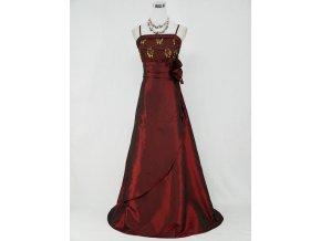 Vínové červeé dlouhé společenské šaty pro plnoštíhlé se zlatou krajkou