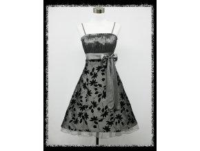 Šedé stříbrné krátké společenské šaty koktejlky po kolena s černou esmišovou aplikací