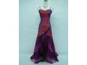 Fialové polodlouhé asymetrické společenské šaty s volány do tanečních