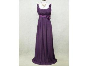 Fialové dlouhé šifonové šaty empírové i pro těhotné v nadměrné velikosti