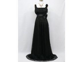 Černé dlouhé společenské empírové šaty antického střihu pro těhotné