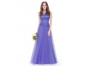 Fialové dlouhé společenské šaty s krajkou a organzovou sukní