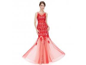 Červené růžové společenské šaty alá mořská víla s krajkou