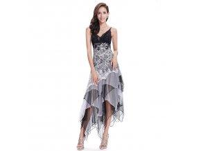 Černobílé polodlouhé společenské taneční levné šaty s volány asymetrické
