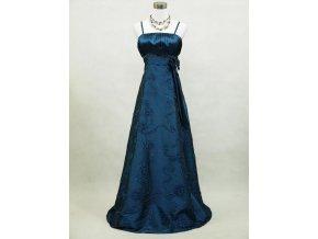 Modré dlouhé společenské šaty pro plnoštíhlí vyšívané