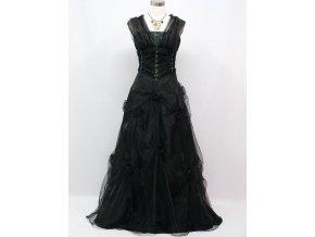 Černé dlouhé levné společenské šaty z organzy na ples na svatbu do tanečních