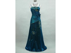 Modré dlouhé společenské levné šaty zavinovací se zlatou výšivkou