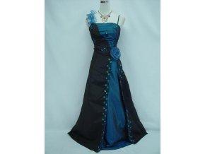Černé modré dlouhé společenské plesové luxusní šaty pro plnoštíhlé s růží a krajkou