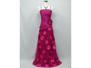 Růžové dlouhé společenské levné plesové šaty s krajkou a kytkami