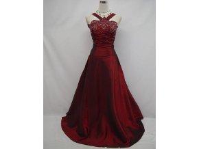 Červené bordó dlouhé společenské svatební plesové šaty za krk pro plnoštíhlé