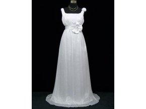 Bílé antické svatební šaty na hrubší ramínka i pro těhotné na svatbu