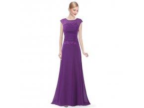Fialové dlouhé luxusní společenské šaty s malým rukávem sklady na svatbu