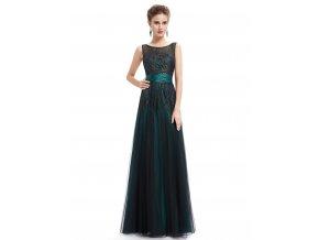 Zelené luxsuní dlouhé společenské šaty se zlatou výšivkou na ples