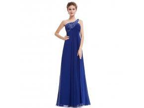 Modré dlouhé luxusní plesové večerní šaty na jedno rameno těhotenské