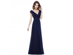 Modré tmavé dlouhé společenské šaty s volány u výstřihu