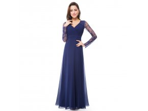 Modré dlouhé společenské šaty s dlouhým rukávem z krajky na ples