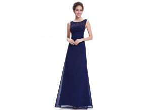 Modré dlouhé luxusní společenské šaty s krajkovým topem bez rukávů