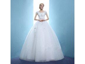 Bílé luxusní svatební šaty s ramínky rukávky a kamínky 1
