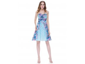 Modré květinové barevné krátké společenské šaty bez ramínek