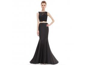 Černé dvojdílné společenské plesové šaty sexy na galavečer
