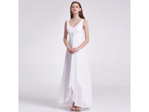 Bílé dlouhé asymetrické společenské šaty pro těhotné