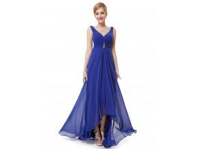 Modré dlouhé společenské šaty vepředu kratší těhotenské