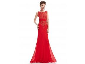 Červené dlouhé společenské šaty s krajkou na svatbu