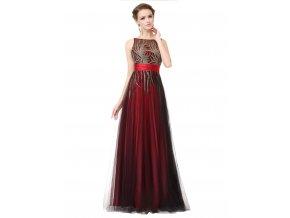 Červené černé spolčenské šaty s organzou se zlatou nášivkou plameny