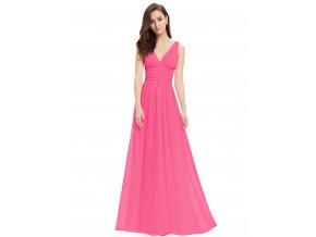 Růžové dlouhé společenské šaty na ramínka na svatbu