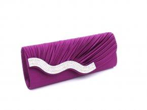 Fialová lila luxusní mini kabelka psaníčko na ples svatbu do společnosti s asymetrickým štrasováním