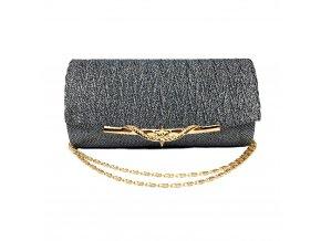 Šedá stříbrná luxusní mini kabelka psaníčko na ples svatbu do společnosti se zlatou přezkou 1