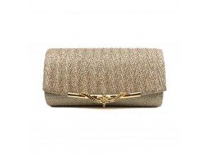 Champagne krémová luxusní mini kabelka psaníčko na ples svatbu do společnosti se zlatou přezkou 1