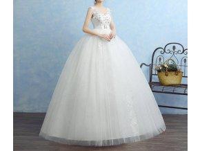 Bílé dlouhé luxusní těhotenské svatební šaty a kamínky