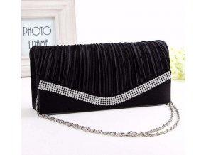 Černá luxusní mini kabelka do společnosti na rameno psaníčko s stříbrnou ozdobou