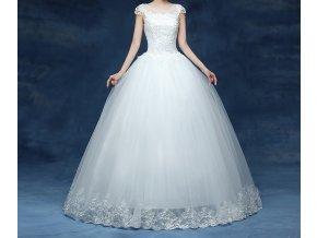 Bílé dlouhé luxusní svatební šaty s krajkou a zdobenou sukní