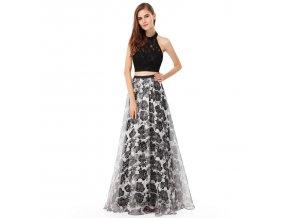Černé bílé dvojdílné společenské sexy šaty