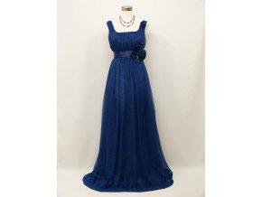 Modré dlouhé společenské šaty empírové i pro těhotné plnoštíhlé