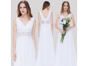 Bílé dlouhé luxusní svatební společenské šaty na svatbku s krajkou v pase