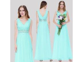Tyrkysové modré dlouhé luxusní svatební společenské šaty na svatbku s krajkou v pase
