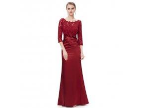Červené rudé společenské šaty na ples na večírek s krajkovým topem a rukávem