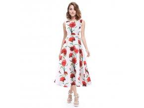 Bílé červené květinové společenské letní polodlouhé svatební šaty