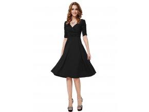 Černé krátké společenské šaty koktejlky lesklé hladké s řasenými rukávy