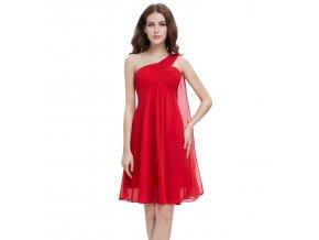 Červené krátké společenské šaty koktejlky na jedno ameno se závojem těhotenské 1