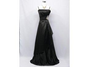 černé dlouhé společenské šaty se štrasem na boku na ples na svatbu C2737